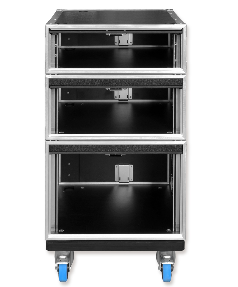 Integrated slide-in doors ensure quick and easy set-up. 4 butterfly catches on each rack enable multiple racks to be locked together to form a larger single ...  sc 1 st  SEEBURG acoustic line & SEEBURG acoustic line | 19u201c Slide Door Racks Plug u0026 Play